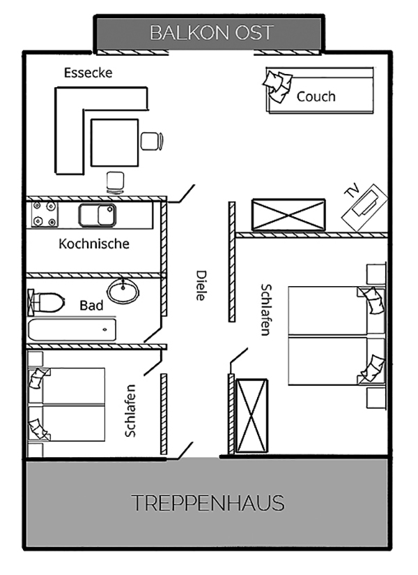 Grundriss Dachgeschoss-Wohnung Luitpolderhof