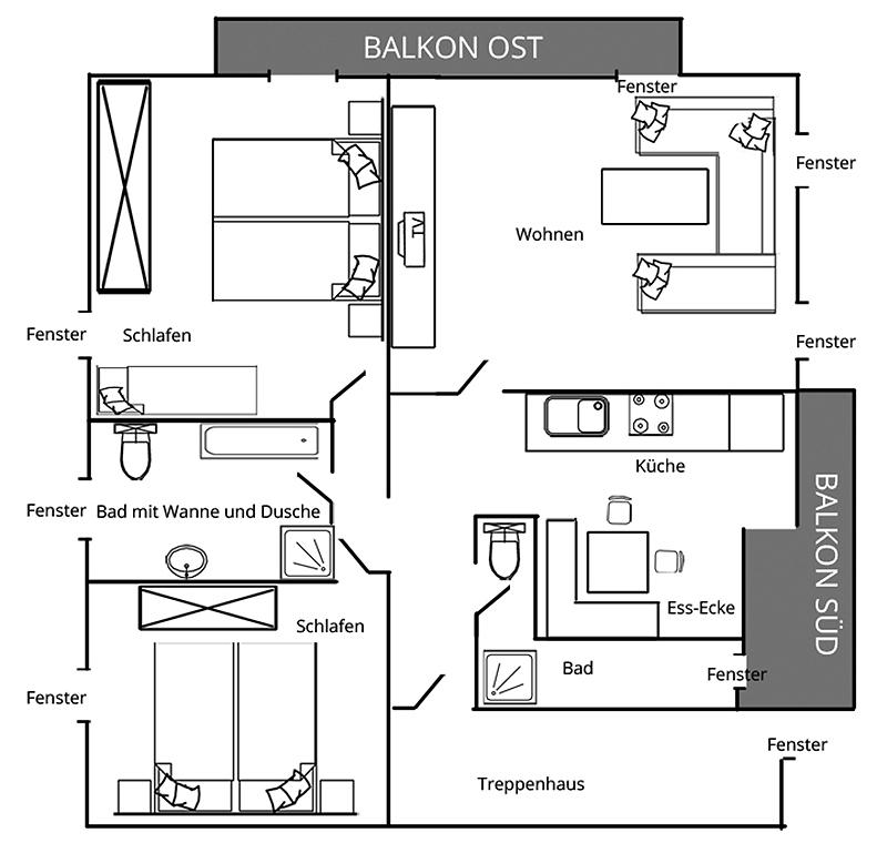 Grundriss Wohnung 1. Stock Luitpolderhof